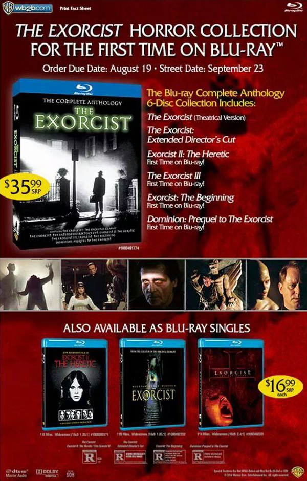 The Exorcist: The Anthology Blu-ray Sales Sheet