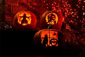 Halloween carvings in pumpkins