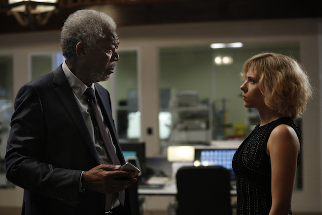 Lucy movie still Scarlett Johansson and Morgan Freeman