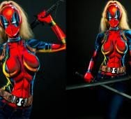 LADY DEADPOOL Body Paint Cosplay [Video]