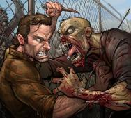 Zombie Attacks Rick Grimes in WALKING DEAD Fan Art